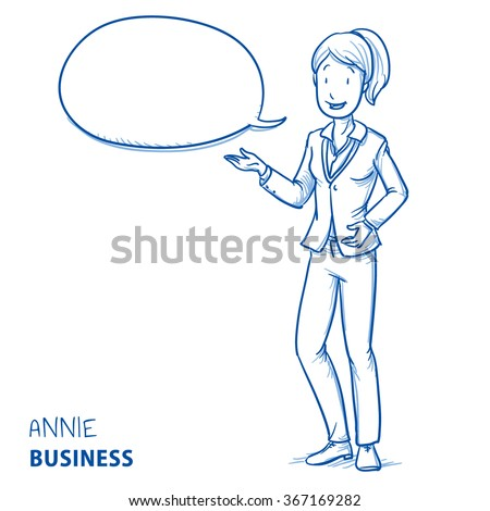Happy young woman in business clothes talking and explaining something with speech bubble. Hand drawn line art cartoon vector illustration. - stock vector