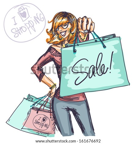 Happy young woman with shopping bags, Shopping doodles - stock vector
