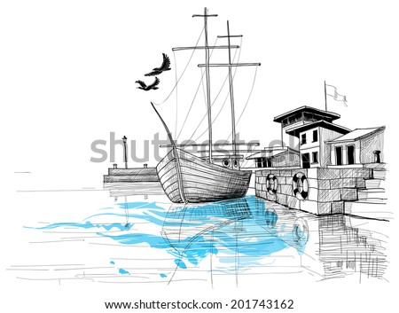 Harbor sketch, boat on shore vector illustration - stock vector