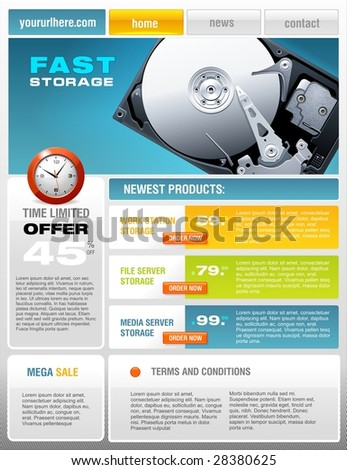 Hard Disk promotional brochure - stock vector