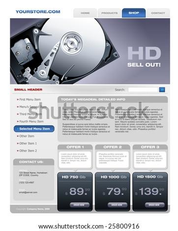 Hard Disk Sale promotional brochure - stock vector