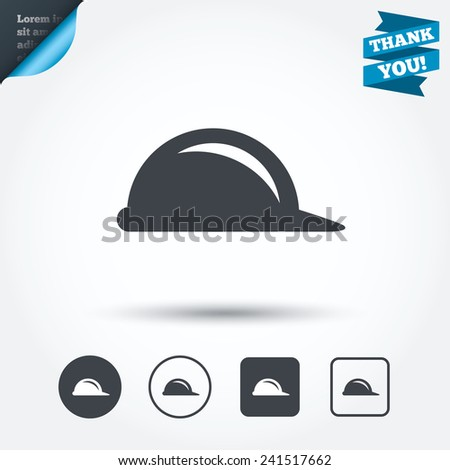 Hard hat sign icon. Construction helmet symbol. Circle and square buttons. Flat design set. Thank you ribbon. Vector - stock vector