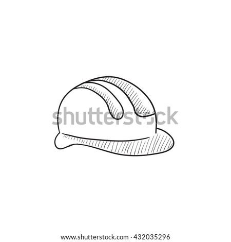 Hard hat vector sketch icon isolated on background. Hand drawn Hard hat icon. Hard hat sketch icon for infographic, website or app.