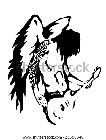 Hard rock Angel - stock vector