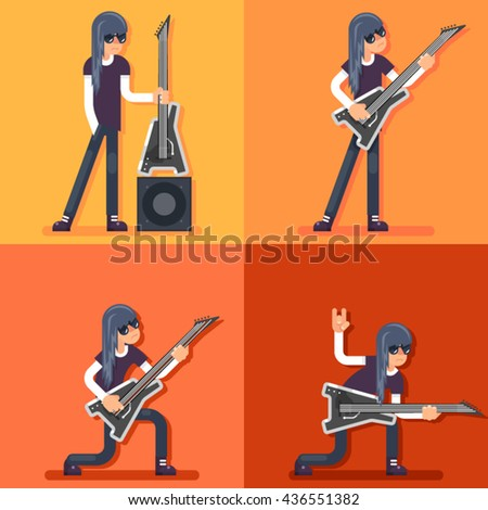 Hard Rock Heavy Folk Music Guitarist Icon Set Electric Guitar Background Concept Flat Design Vector Illustration - stock vector