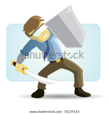 Hard worker protection - stock vector