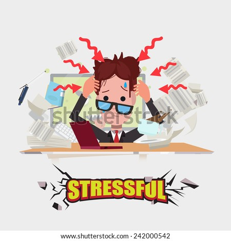 hard working man. stressful concept - vector illustration - stock vector