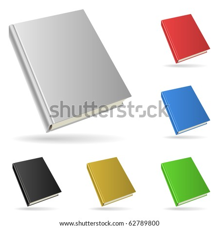 Hardcover book isolated on white background with color variants. - stock vector
