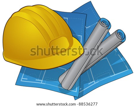 Hardhat and Blue Prints Icon - stock vector