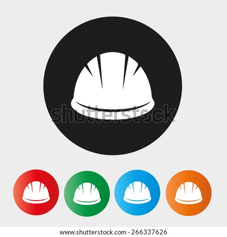 Hardhat Icon with Different Color Variations - stock vector