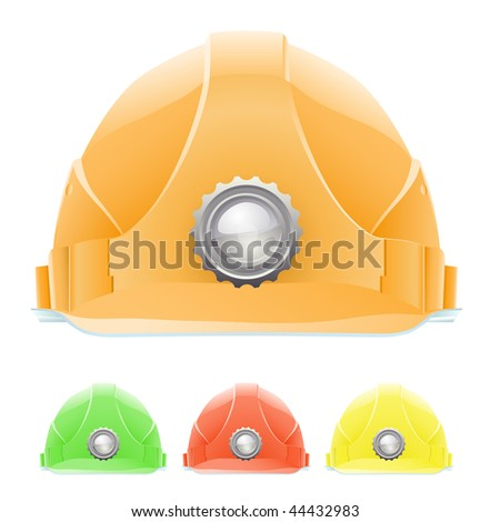 Hardhat with lamp in different Colours. The front view. Vector illustration. Gradient only. No mesh. It is organised on levels. Serie of images. - stock vector