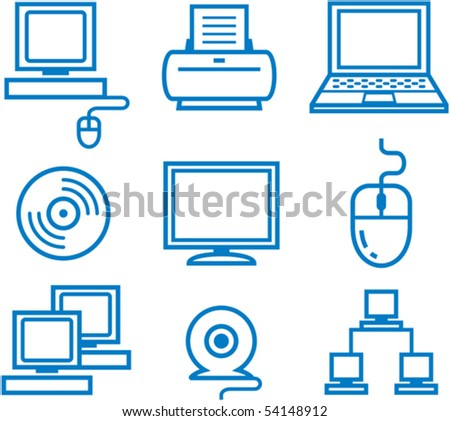 Hardware â?? computers, electronics, electronic technology. Vector illustration - stock vector