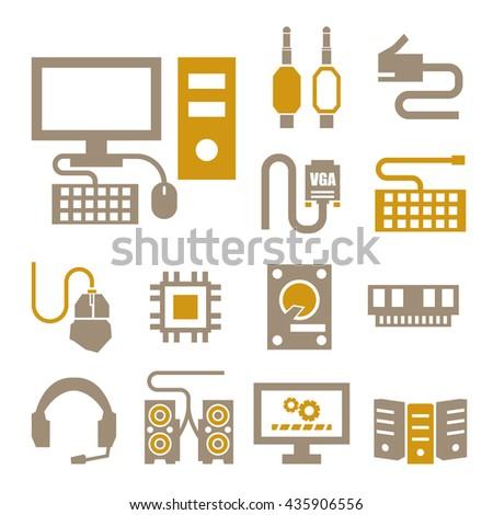 hardware icon set - stock vector