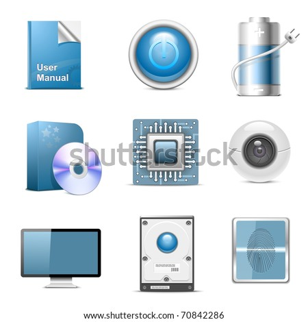 hardware parts vector icon set - stock vector