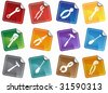 Hardware Tool Sticker Icon Set : Group of different types of tools. - stock vector