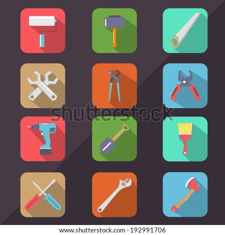 Hardware Tools Flat Icon Long Shadow - stock vector