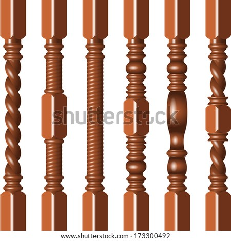 Hardwood spindles - stock vector
