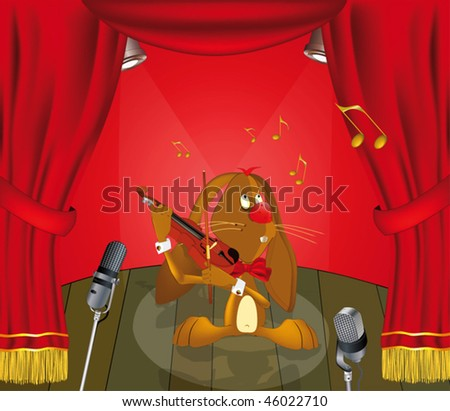 hare the musician appearing on stage - stock vector
