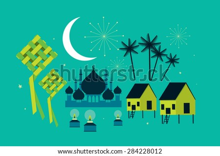 hari raya elements vector/illustration - stock vector