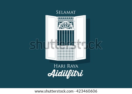 hari raya village house/kampung window vector/illustration with malay words that means happy eid - stock vector