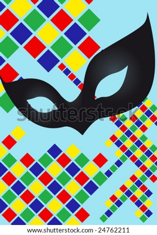 Harlequin carnival mask - stock vector