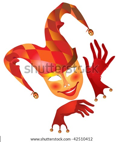 harlequin in red - stock vector