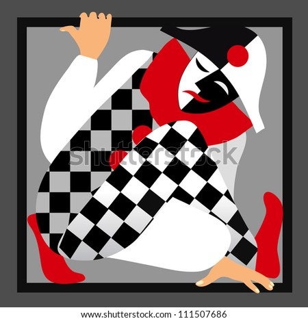 Harlequin in the frame - stock vector