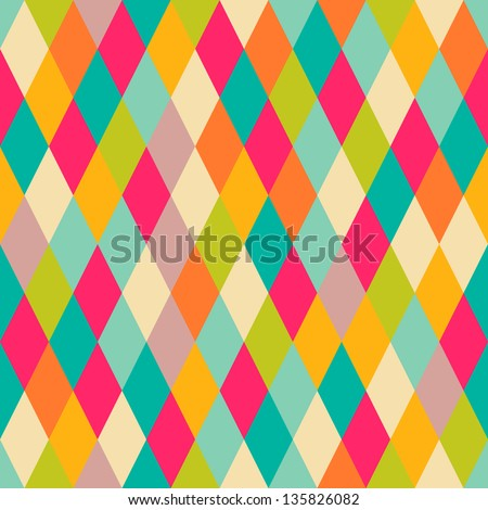 Harlequin vintage seamless pattern - stock vector