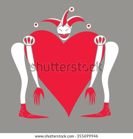 Harlequin with a heart on a gray background - stock vector