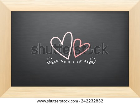 Hart on blackboard - stock vector