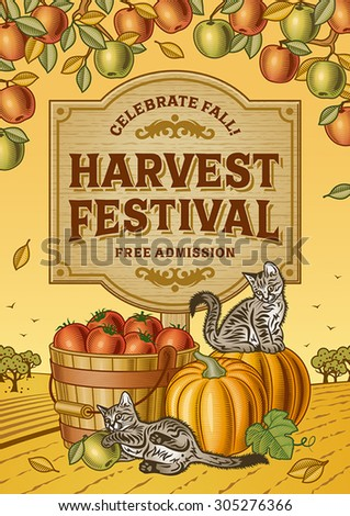 Harvest Festival Poster. Editable EPS10 vector illustration with clipping mask and transparency. - stock vector