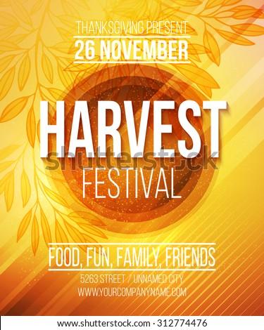 Harvest Festival Poster. Vector illustration EPS 10 - stock vector