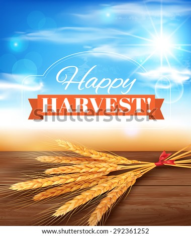 Harvest time poster design. Vector illustration. - stock vector