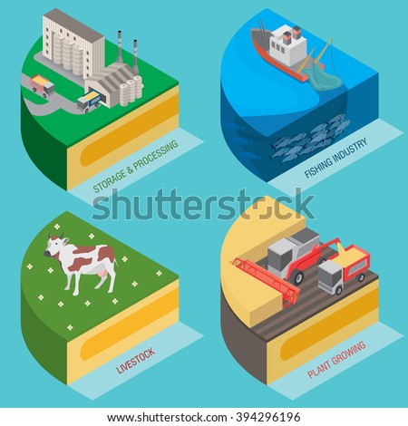 Harvesting, processing, farming. Economic diagram pie chart / Agriculture and Fishing industry / Vector illustration - stock vector
