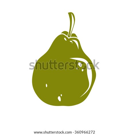 Harvesting symbol, vector fruit isolated. Single organic sweet pear, healthy food idea design icon. - stock vector