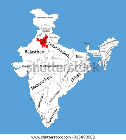 Haryana state, India, vector map silhouette illustration isolated on India map. Editable blank vector map of India.