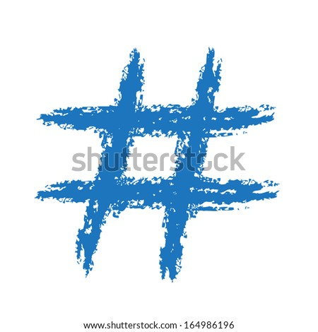 Hash Tag Brushed - stock vector