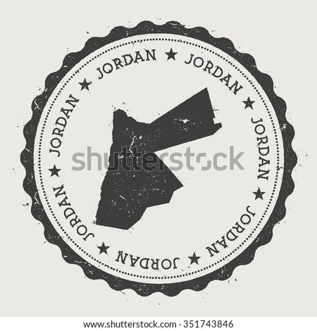 Hashemite Kingdom of Jordan. Hipster round rubber stamp with Jordan map. Vintage passport stamp with circular text and stars, vector illustration - stock vector