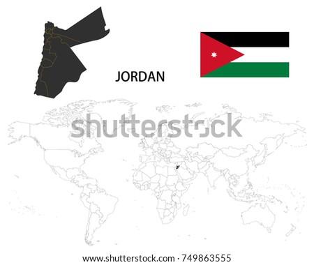 Hashemite kingdom jordan map on world stock vector 749863555 hashemite kingdom of jordan map on a world map with flag on white background gumiabroncs Images