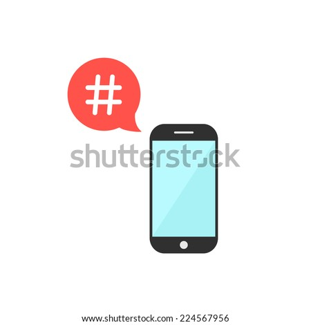 hashtag in red speech bubble with smartphone. isolated on white background. flat style design trendy modern vector illustration - stock vector