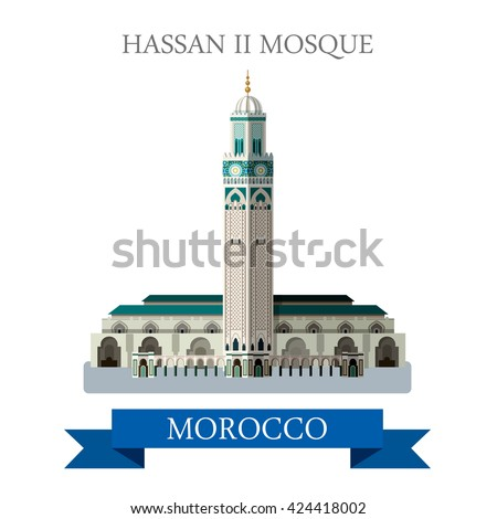 Hassan II Mosque in Morocco. Flat cartoon style historic sight showplace attraction web site vector illustration. World countries cities vacation travel sightseeing Africa collection. - stock vector