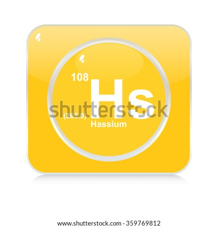 hassium chemical element button - stock vector