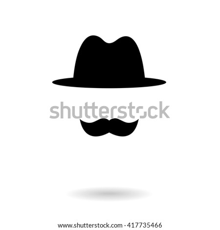 hat and moustache - stock vector