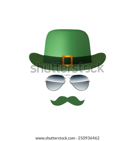 Hat Glasses and Mustache isolated on white background vector - stock vector