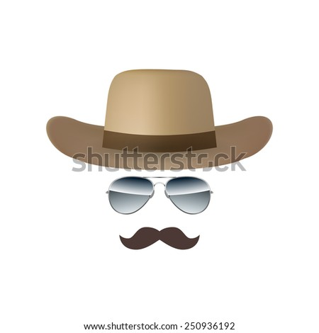 Hat Glasses and Mustache isolated on white background vector illustration - stock vector
