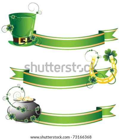 Hat, horseshoe and pot on ribbon background. Attributes of St. Patrick's Day - stock vector