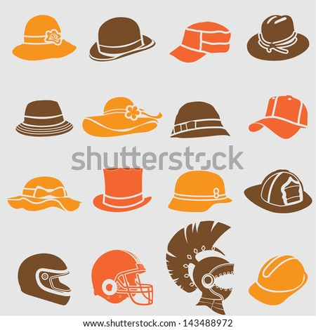 Hat icons set. Vector - stock vector