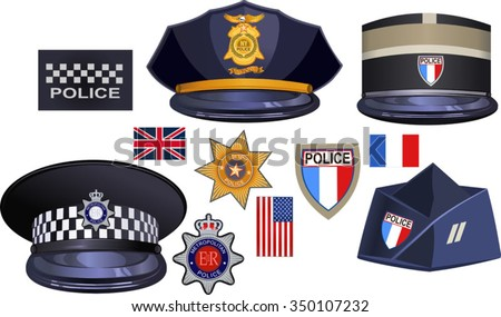 hat of British, American, French police officers - stock vector