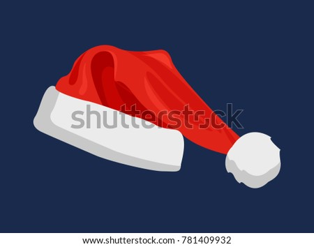 Hat of Santa Claus of red color, part of traditional costume of winter character, closeup of cap, vector illustration isolated on blue background