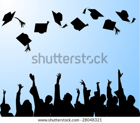 hat tossing ceremony at graduation - stock vector